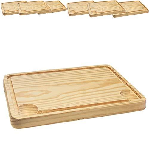 Tabla de churrasco,Tabla Madera Para tapas,Plato de Madera para Churrasco pack de 6 uds 20 x30 cm