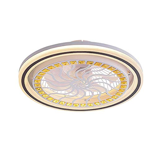 Ceiling Fan with Light, 20-Inch LED Fan Light, Three-Color Lighting Pattern, Invisible Acrylic Blade, Metal Casing, Semi-Recessed Installation, Low-Profile Fan