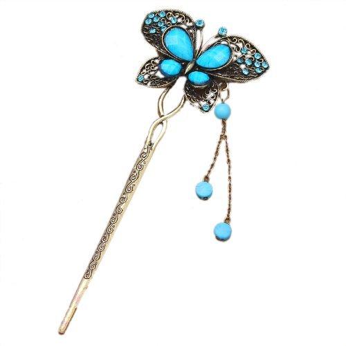 Qiyun chinois traditionnel Vivid papillon incruste de cristal strass perle en laiton antique Metal decoratif epingle acheveux de baton avec balancent Tassel - Bleu Turquoise