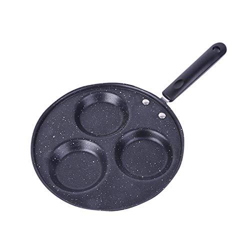 Quatre trous à trois trous Friture Pot épaissie Omelette Pan antiadhésifs oeuf Pancake Steak Pan cuisine oeuf jambon Pans Petit déjeuner Maker lucar