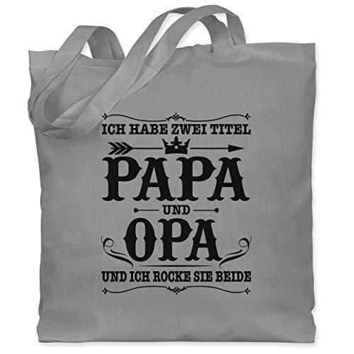 Shirtracer Vatertagsgeschenk - Ich habe zwei Titel Papa und Opa/Vintage - schwarz - Unisize - Hellgrau - Statement - WM101 - Stoffbeutel aus Baumwolle Jutebeutel lange Henkel