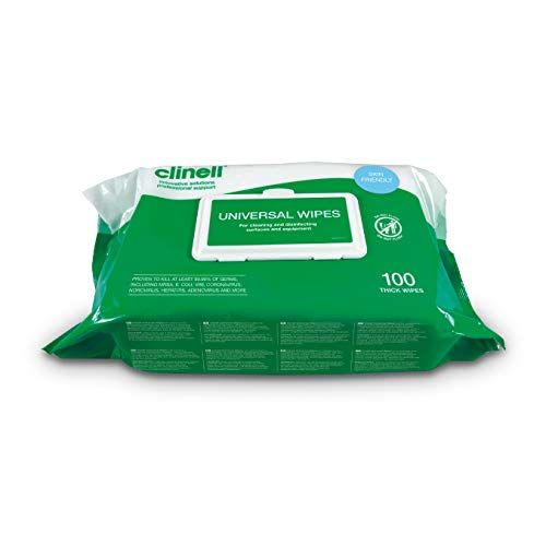 Clinell - Toallitas universales para limpieza y desinfección de superficies, paquete de 100 toallitas extra gruesas, toallitas multiusos, mata el 99,99% de los gérmenes, eficaz en 10 segundos