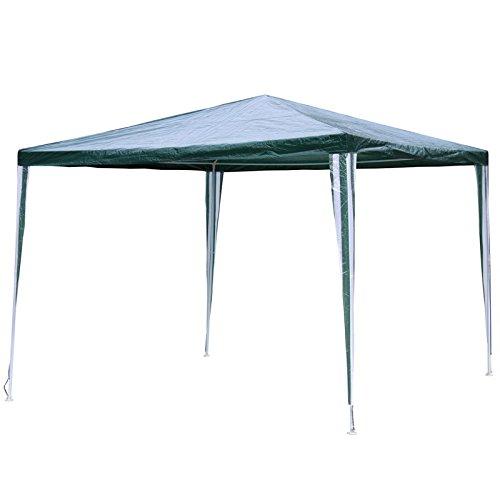 Linder Cenador de Metal 3x 3x 2,4m Verde/Blanco PE Jardín Cenador de Tienda Pavilion