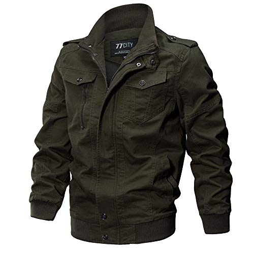 VECDY Herren Jacken,Räumungsverkauf-Herren Herrenbekleidung Jacke Mantel Military Bekleidung Tactical Outwear Atmungsaktiver Mantel Lässige warme Jacke Knopf Herbst Kleidung(Armeegrün,48)
