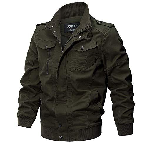 VECDY Herren Jacken,Räumungsverkauf-Herren Herrenbekleidung Jacke Mantel Military Bekleidung Tactical Outwear Atmungsaktiver Mantel Lässige warme Jacke Knopf Herbst Kleidung(Armeegrün,56)
