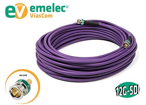 Emelec VíasCom EQ 152020VI - Conexión vídeo 4K 12G-SDI 2 m con BNC 0.8/3.75 (conductor multifilar) color violeta
