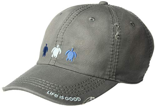 Life is Good Sunwashed Chill Cap Baseball Hat, Turtles Slate Grey, One Size