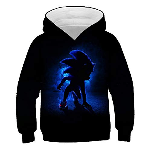 NOBRAND 3D Sonic Printed Hoodie Sweatshirts Long Sleeve Pullover for Boys and Girls, Casual Fashion Funny Fans Cosplay Tops Coat Sweater Plus Size (100(HIGH 90-100CM),JA-5)