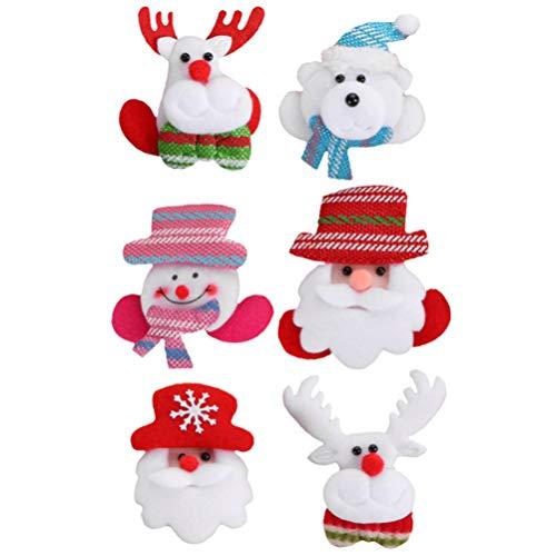 ABOOFAN 6 Piezas Led Broche de Flash Navideño Pin Santa Claus Ciervo Insignia de Muñeco de Nieve Ilumina Ramilletes Festivos Broche de Ropa Hebillas para Regalo de Niños Favores de Fiesta