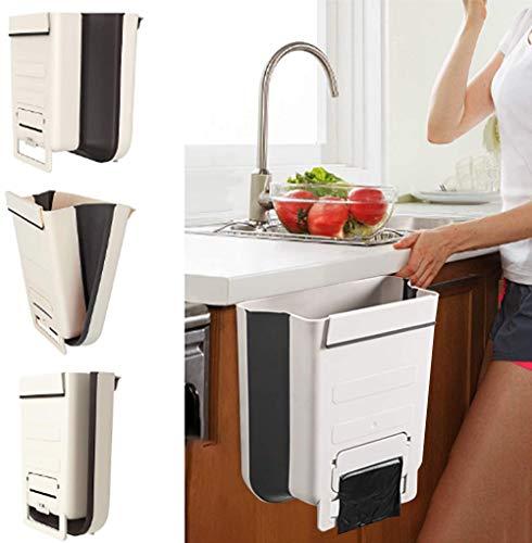 JMGoodstore Cubos Plegable Colgando para la Cocina,Plegable Cubo Basura Extraible pequeño y Compacto Contenedor Organizador Armario(Blanco)