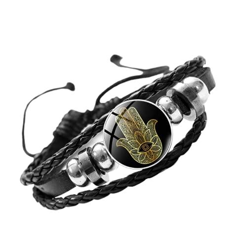 Pulsera de piel de mano de Fátima con diseño de mandala, cuentas de cúpula de cristal ajustables para hombres y mujeres