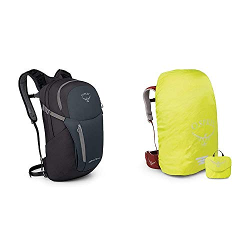 Osprey Daylite Plus Unisex Lifestyle Pack - grey/green (O/S) & Ultralight High Vis Raincover for 10 - 20L Packs (XS)