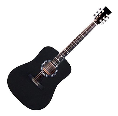 Classic Cantabile WS-10BK Westerngitarre (Dreadnought, Western akustik, Stahlsaiten, Anfänger & Fortgeschrittene) schwarz
