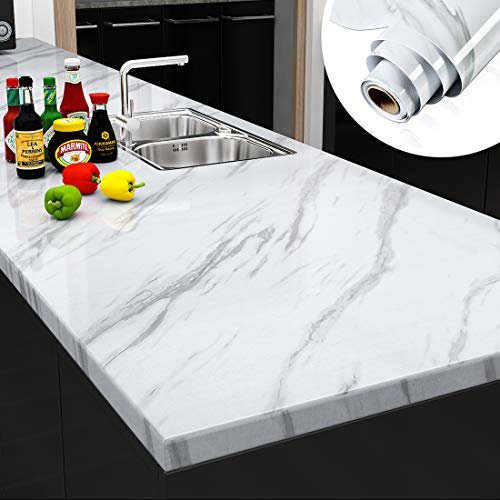 Yenhome 200x30 inch White Marble Contact Paper Marble Wallpaper Kitchen Countertop Peel and Stick Wallpaper Self Adhesive Removable Wallpaper Waterproof Granite Contact Paper for Cabinets Bathroom
