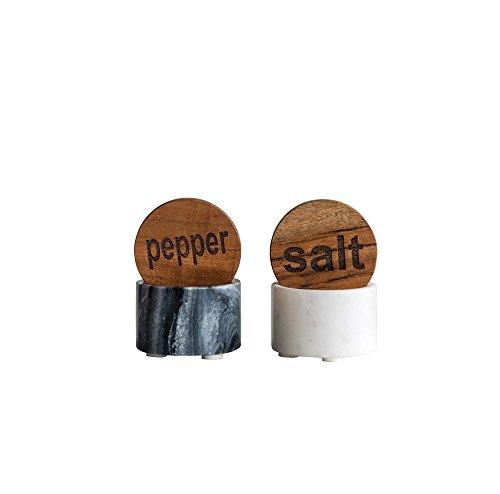 Round Marble Salt & Pepper Pot w/Wood Lid, Black & White