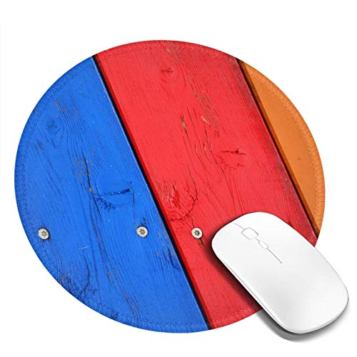 Round Mouse Pad, Red Blue Wooden Cabinet Non-Slip Rubber Base Mouse Pad with Stitched Edge, Waterproof Office and Home Gaming Mouse Pad for Computer Desktops, Pc, Laptop