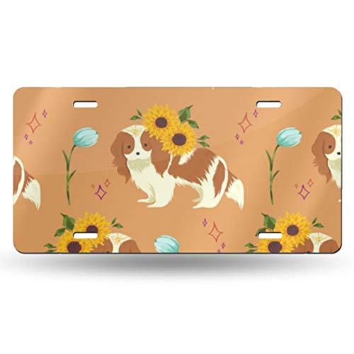 Hunde- und Sonnenblumen-Nummernschild aus Metall, personalisierbar