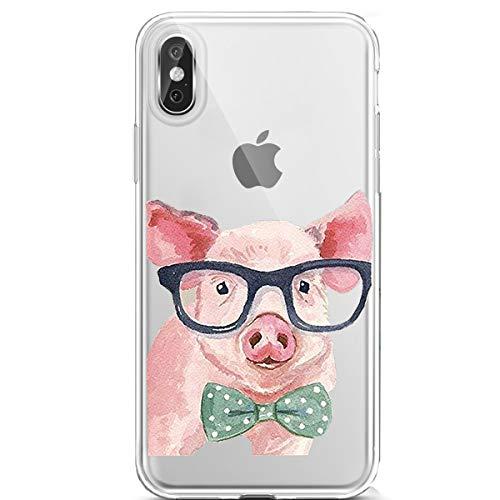 Karomenic Silikon Hülle kompatibel mit iPhone XR Kreative Cartoon Transparent Handyhülle Durchsichtig Schutzhülle Crystal Clear Weiche Soft TPU Tasche Bumper Case Etui,Auge Schwein