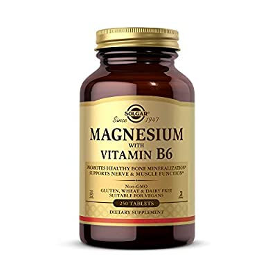 Solgar Magnesium with Vitamin B6, 250 Tablets - Promote Healthy Bone Mineralization, Support Nerve & Muscle Function, Energy Metabolism - Non-GMO, Vegan, Gluten Free, Dairy Free, Kosher - 83 Servings