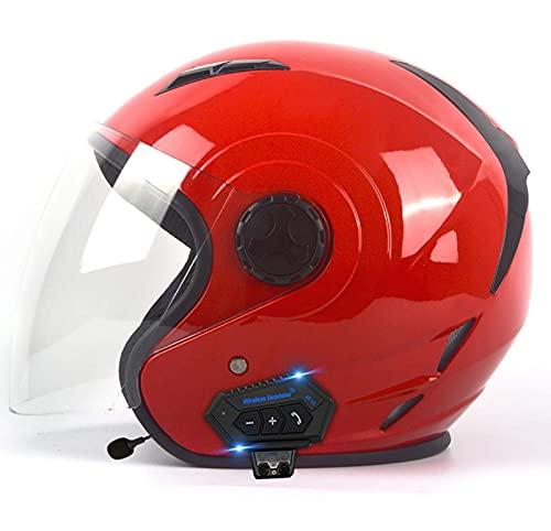 HYRGLIZI Cascos de Motocicleta Bluetooth Casco de Moto Jet Aprobado por Dot Motocicleta 3/4 Medio Casco de Cara Abierta, con micrófono para Respuesta automática 3, M = (57~58CM)