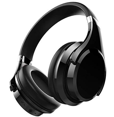Auriculares inalámbricos de alta gama alta sobre auriculares, auriculares de alta fidelidad estéreo, auriculares con cable y cable, compatible con tarjeta TF y TF, TV portátil (Color: Negro) jianyou