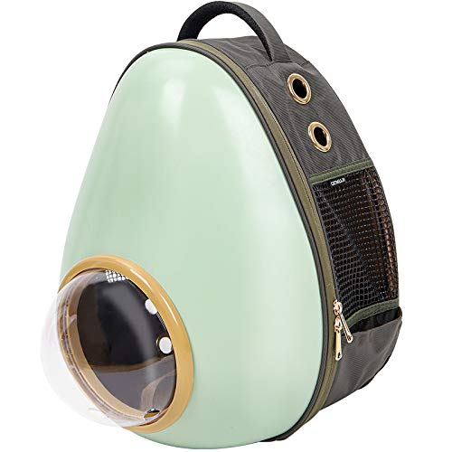 YUMOA ペットキャリーバッグ 大型 猫リュック 耐荷重8Kg キャリーバッグ 宇宙船 カプセル 広々空間 軽量 ペットバッグ 小型犬用 バッグ 猫犬兼用バックパック ペットリュックサック (アボカド型)