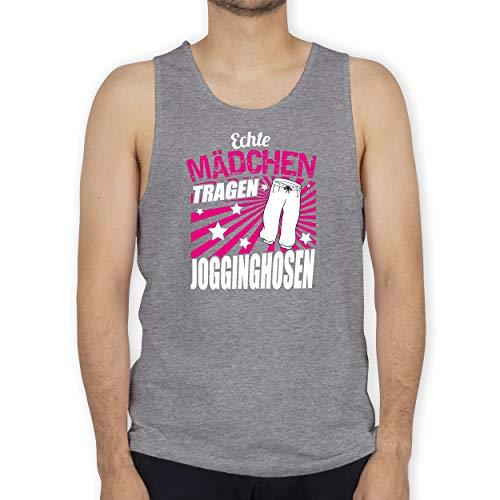 Sprüche - Echte Mädchen tragen Jogginghosen - 3XL - Grau meliert - grau melierte Jogginghose - BCTM072 - Tanktop Herren und Tank-Top Männer