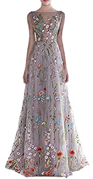 YSMei Women s Backless Long 3D Flower Prom Party Gown 14 Gray-sleeveless