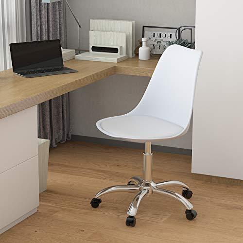 Radelldar Chaise Bureau Blanche Scandinave Fauteuil de Bureau a Coussin Pivotant Hauteur Réglable à roulettes Chaise D'ordinateur pour Le Bureau à Domicile (Blanc)