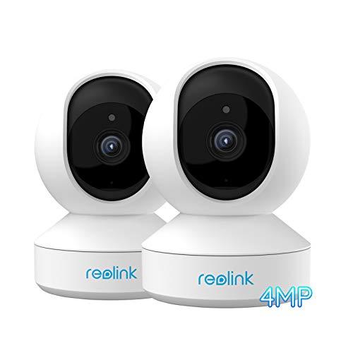 Reolink E1 Pro 4MP Telecamera Wi-Fi Interno Pan Tilt Casa Intelligente 2.4GHz 5GHz Dual-Band WiFi con Audio a Due Vie Avvisi di Movimento Cam IP per Bambini, Animali Domestici(Pack di 2)