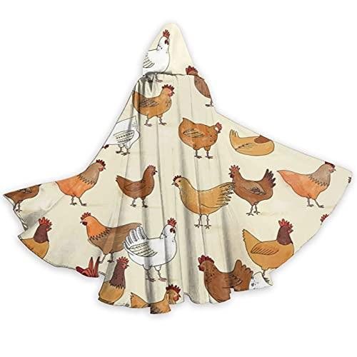 Una cra de pollos de longitud completa con capucha capa capa capa de cosplay traje de lujo capa de Halloween decoraciones fiesta