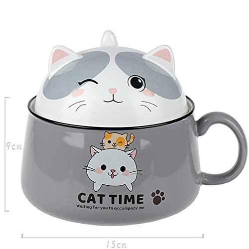 Tazón de fideos instantáneos de cerámica de gato de dibujos animados multifunción 450ML 1020ML con tapa Tazón de mango Taza Tazón de frutas Dormitorio en casa Oficina-1020ML Gato gris
