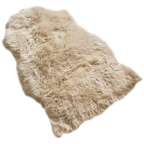 ムートンラグ (90cm×60cm ブラウンストーン) ムートン ラグ 一匹物 おしゃれ 北欧 洗える 本物 ラグマット オールシーズン 春用 夏用 長毛 天然羊毛 ウール