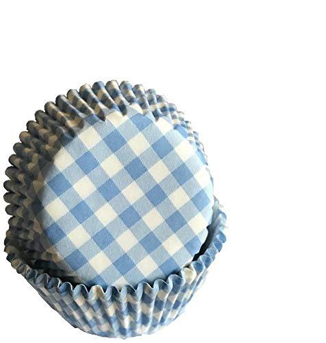 Tasty Cooky Shop Lot de 50 caissettes à muffins en papier à carreaux Bleu/bleu ciel