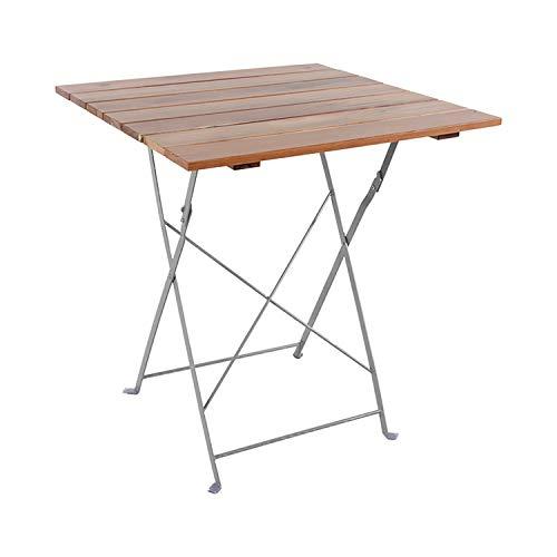INDA-Exclusiv Klapptisch Biergarten Tisch Gartentisch klappbar Stehtisch Akazieholz und Stahl pulverbeschichtet 70x70cm