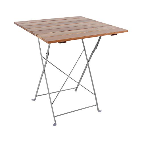 Mojawo - Tavolino pieghevole da giardino, in legno di acacia e acciaio verniciato a polvere, 70 x 70 cm