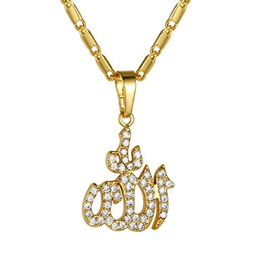 GoldChic Jewelry Gold CZ Allah Necklace for Women, Iced- Out Muslim Abrahamic Religions Jewellery