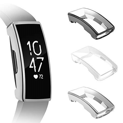 FINTIE Custodia Compatible con Fitbit Inspire/Inspire HR, [3 Pezzi] TPU Morbido Case Protettiva Rugged Cover all-Around Protective Bumper Shell, Nero/Argentato/Chiaro