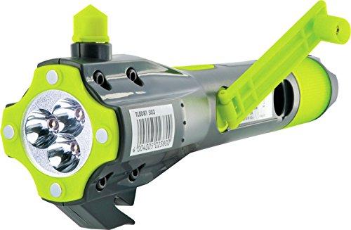 Schwaiger TLED81 513 Multifunktionstaschenlampe Outdoor, Notfall (8in1, LED, Notfallakku, Kompass, Gurtschneider, Scheibenhammer, Micro USB Buchse, Powerbank. Magnet, Kurbel, Notfalllicht)