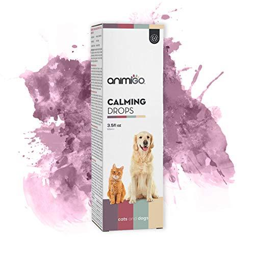 Animigo Calming Drops | Beruhigungstropfen für Hunde und Katzen | Katzen Beruhigungsmittel | Beruhigungsmittel für Hunde | Beruhigung Hund Natürlich | 100ml Tropfen