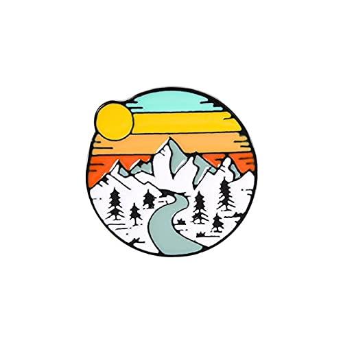 Regenbogen Sonnenuntergang Berge Retro Polaroid Kamera Filmband Kreative Brosche Cartoon Pin Anhänger Feste Kleidung Tasche Zubehör Abzeichen-3