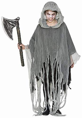 Fyasa 706436 Poncho Zombie-Kostüm für Kinder, Mehrfarbig, Größe M