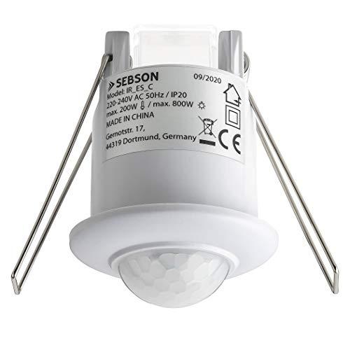SEBSON® Mini Bewegungsmelder Innen, Unterputz Decken Montage, programmierbar, Infrarot Sensor Reichweite 6m / 360°, LED geeignet - Ø50x66mm, 3-Draht