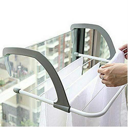XKMY Productos de baño ajustables para radiador y toalla, barra plegable, secador, 5 carriles, accesorios para decoración del hogar (color: gris, tamaño: 50 x 28 cm)