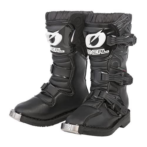O'NEAL | Motocross-Stiefel | Kinder | Motocross Enduro | Integrierter Zehenschutz, Air-Mesh-Gewebe, leicht verstellbare Verschlussschnallen | Rider Youth Boot | Schwarz | Größe 1/35