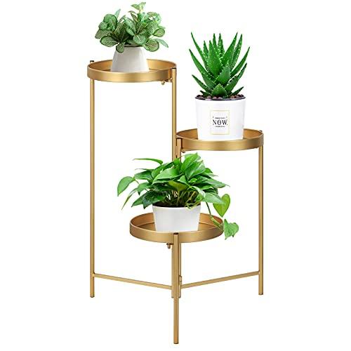 Soporte para plantas de metal de 3 niveles, plegable, bandeja de hierro de tres niveles, soporte para plantas de interior, maceteros multicapa, mesa para decoración (dorado, 68,5 cm de alto)