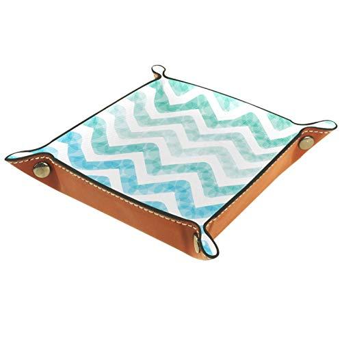 MUMIMI Quadratischer Teller aus Leder, für Damen und Mädchen, Kunst-Design, dreieckig, geriffelt, Geschenk zum Muttertag oder Geburtstag