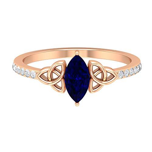 Anillo de diamante y zafiro azul de 1 quilate, anillo solitario con piedras laterales, anillo de nudo celta dorado (8X4 mm, 14K Oro rosa, Size:EU 49