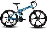 AUTOKS 26 'Bicicleta de montaña Plegable Bicicleta de Ciudad eléctrica Plegable Bicicleta de aleación de Aluminio Marco de Acero al Carbono Suspensión Doble Absorción de Choque Bicicleta Plegable
