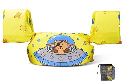 Qshare-アームリング 子供用 腕 浮き輪 軽量  幼児 プール 2〜6歳 パドルジャンパー 水着型救命胴衣 便利 ライフジャケット 浮き輪 強い浮力 水泳練習用具 水遊び スイミング 補助具 男女兼用 フリーサイズ 専用収納袋付き (UFO)